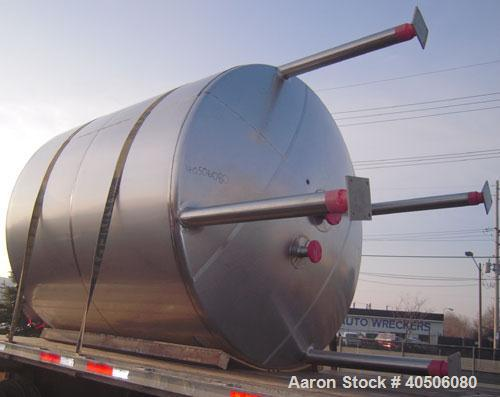 "Unused- Mueller Pressure Tank, 2,500 Gallon, Model ""F"", 304L stainless steel, vertical. 90"" diameter x 79"" straight side, 2:..."