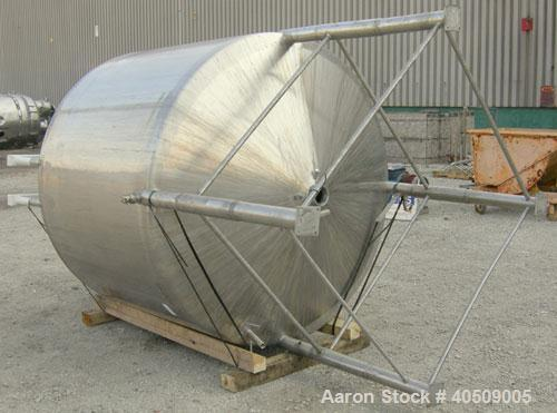 "Used- Creamery Package Tank, 1000 gallon, 304 stainless steel, vertical. 72"" diameter x 53"" straight side. Dished top, coned..."