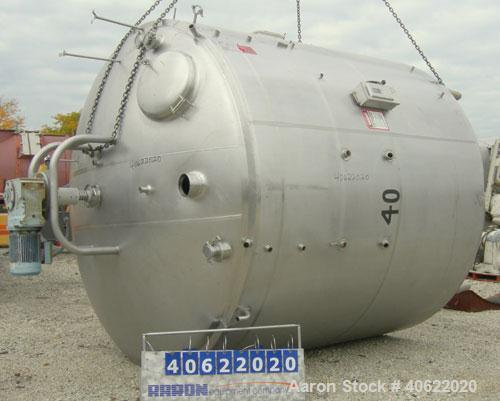 "Used-  DCI tank, 3500 Gallon, 304 stainless steel, jacketed.  107"" diameter x 91 3/16"" straight side.  Dish top, sloped bott..."