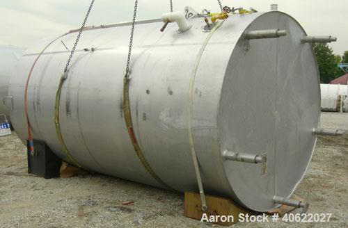 "Used-DCI tank, 4500 gallon, 304 stainless steel, jacketed. 89 1/4"" diameter x 168"" straight side. Dish top, sloped bottom. 2..."