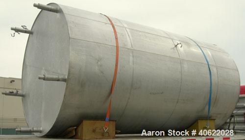 "Used- DCI tank, 4500 gallon, 304 stainless steel, jacketed. 89 1/4"" diameter x 168"" straight side. Dish top, sloped bottom. ..."