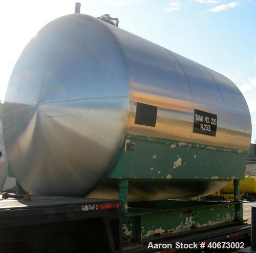 "Used- L'Hoir Incorporated Tank, 3,602 Gallon (3000 Imperial), 304 stainless steel, horizontal. Approximately 91 1/2"" diamete..."