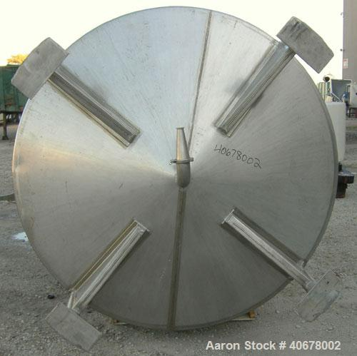 "Used- Feldmeier Tank, 1900 gallon, 316 stainless steel, vertical. 80"" diameter x 84"" straight side, coned top and bottom. Op..."