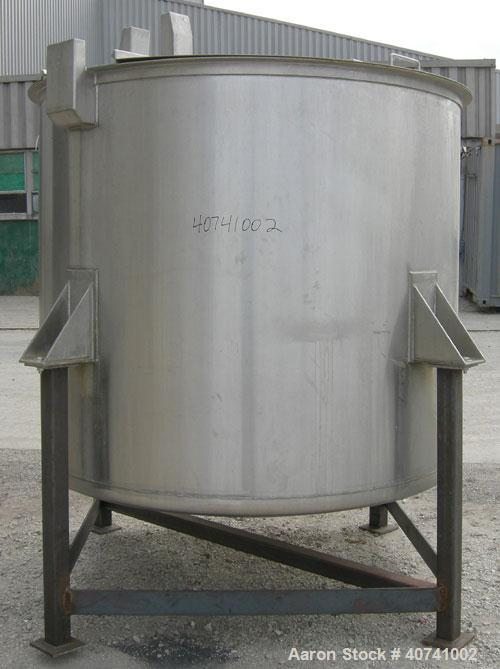 "Used- Tank, 1200 gallon, 316 stainless steel, vertical. 72"" diameter x 62"" straight side. Open top with (2) 1/3 covers, dish..."