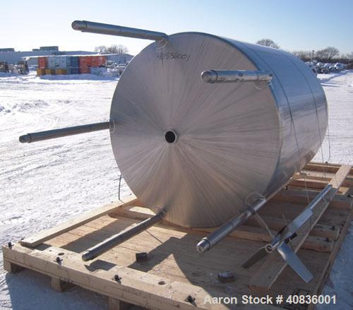 "Used- Walker Stainless Tank, 1000 Gallon, 316 Stainless Steel, Vertical.  66"" diameter x 72"" straight side, dished top, cone..."