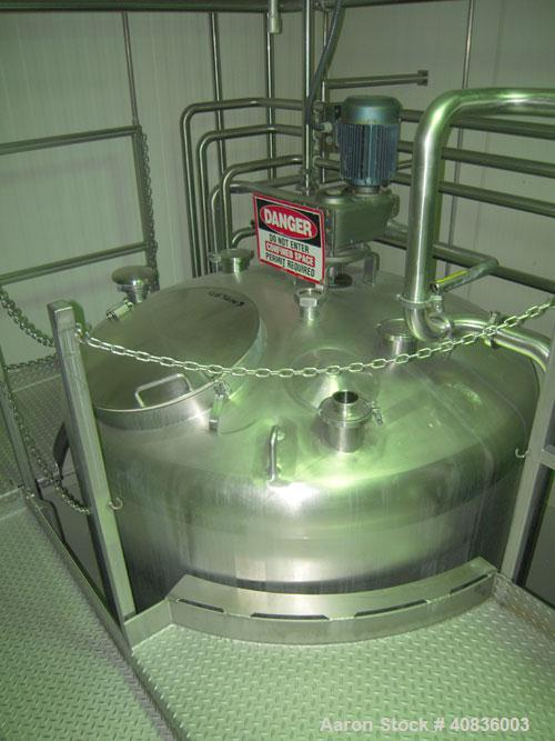 "Used- Walker Stainless Tank, 1000 gallon, 316 stainless steel, vertical. 66"" diameter x 72"" straight side, dished top, coned..."