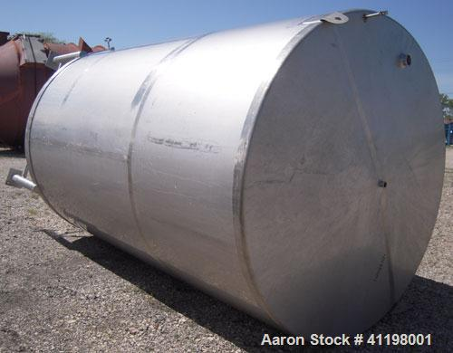 "Used- W.H.E Bio-Systems Inc. Tank, 4000 Gallon, 304 Stainless Steel, Vertical. 92"" diameter x 140"" straight side. Slight con..."