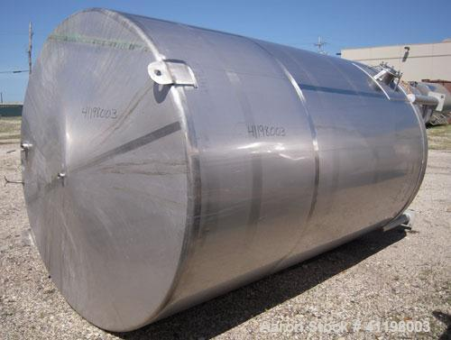 "Used- W.H.E. Bio-Systems Tank, 4000 Gallon, 304 Stainless Steel, Vertical. 92"" diameter x 140"" straight side. Slight cone to..."