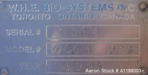 """Used- W.H.E. Bio-Systems Tank, 4000 Gallon, 304 Stainless Steel, Vertical. 92"""" diameter x 140"""" straight side. Slight cone to..."""