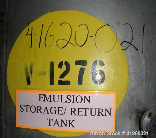 "Used- Tank, 1,400 Gallon, 304 Stainless Steel, Vertical. 6'6"" diameter x 70"" straight side, flat bottom, dish top."