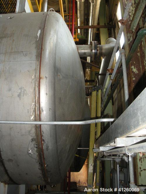 "Used- Noralta Tank, 5,000 Gallon, 304 Stainless Steel, Horizontal. Approximately 8' diameter x 12' 9"" straight side."