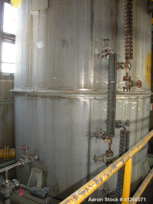 Used- Ellett Pressure Tank, 4,000 Gallon, stainless steel, vertical. 8' diameter x 10' straight side, dish top and bottom. I...