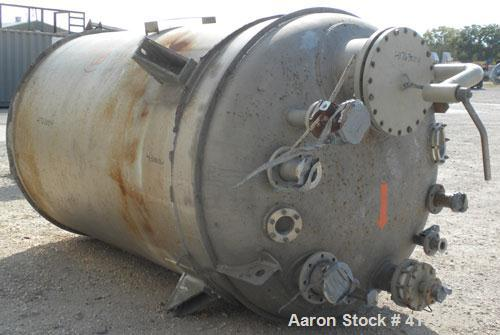 "Used- Mueller Pressure Tank, 2000 Gallon, Model F, 316L Stainless Steel, Vertical. 72"" diameter x 105"" straight side, 2 to 1..."