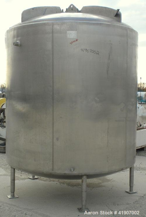 "Used- Mueller Tank, 2000 Gallon, Model F, 316 stainless steel, vertical. 84"" diameter x 76"" straight side, dished top and bo..."