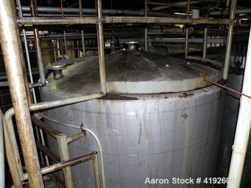 "Used- Tank, 3800 Gallon,  Stainless Steel, Vertical. 84"" diameter x 156"" straight side, coned top and bottom. Openings top (..."