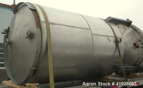 "Used- Tank, 2800 Gallon, 316 Stainless Steel, Vertical. 84"" diameter x 116"" straight side, slight cone top, coned bottom. Op..."