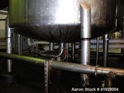 "Used- Perry Products Tank, 2000 Gallon, 304 stainless steel, vertical. 76"" diameter x 106"" straight side, dished top and bot..."