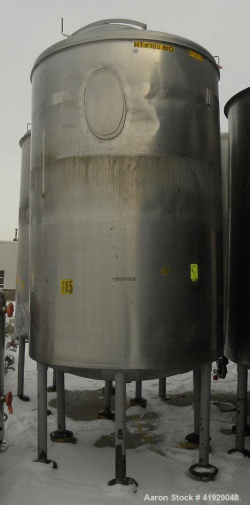 "Used- Norwalk Tank, 2000 Gallon, 316 stainless steel, vertical. 76"" diameter x 108"" straight side, dished 304 stainless stee..."