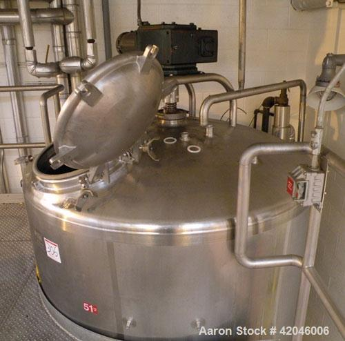 "Used-DCI Kettle, 1000 Gallon, Stainless Steel, Vertical. Approximate 66"" diameter x 66"" straight side, dished top, sloped bo..."