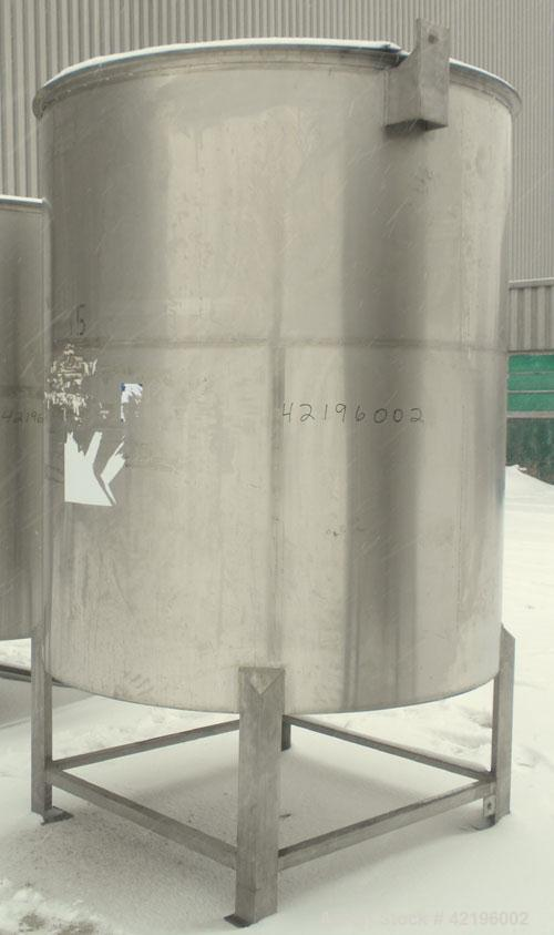 "Used- Indian Tuff-Tank Tank, 1480 Gallon, 316 Stainless Steel. 72"" diameter x 84"" straight side, flat top with hinged cover ..."
