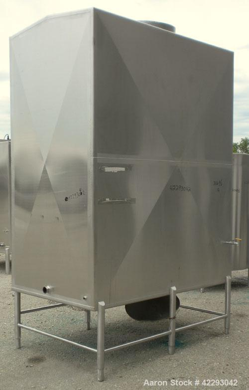 "Used- Rectangular Tank, 1500 Gallon, 316 Stainless Steel, Vertical. Approximately 76"" long x 48"" wide x 94"" tall. Gabled top..."