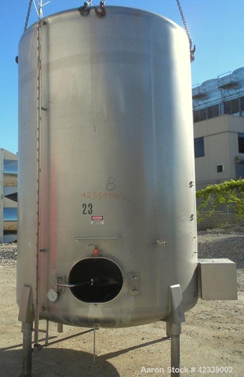 "Used- Cherry-Burrell Tank, 3000 Gallon, 304 Stainless Steel, Vertical. 84"" Diameter x 116"" straight side, dish top and botto..."