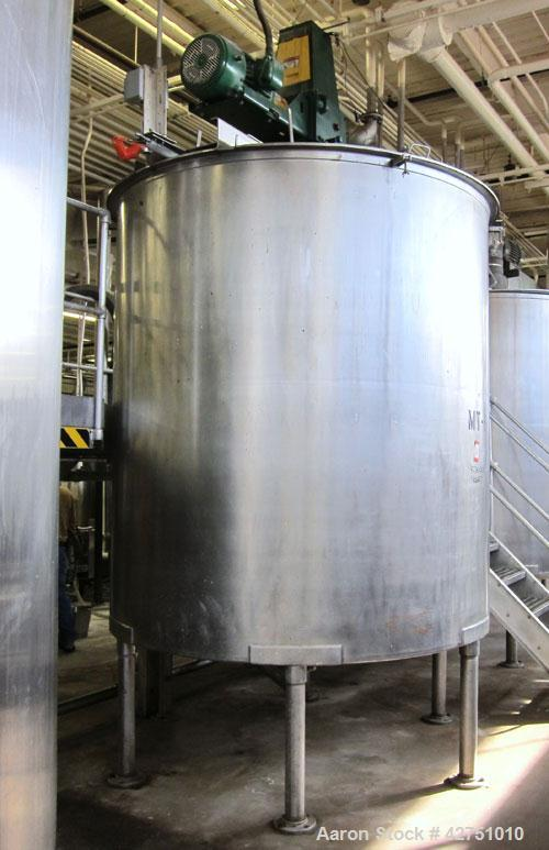 "Used- Groen Tank, 2000 Gallon, Model 2000 SP, Stainless Steel, Vertical. 84"" Diameter x 90"" straight side. Open top with (2)..."