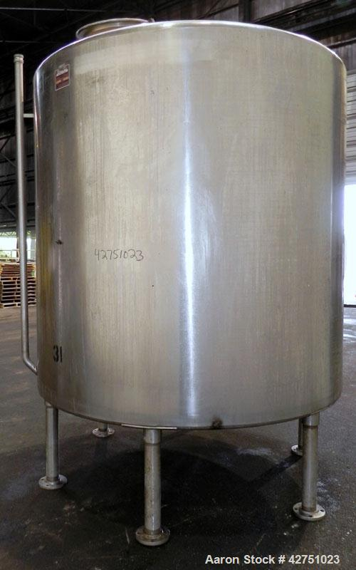 "Used- Perma-San Tank, 2000 Gallon, Model CVC, 304 Stainless Steel Vertical. 84"" Diameter x 80"" straight side. Dished top, co..."