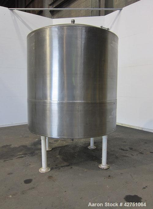 "Previous owned - Tank, 1500 Gallon, 304 Stainless Steel, Vertical. 75-1/2"" Diameter x 72"" straight side, dished top, coned b..."