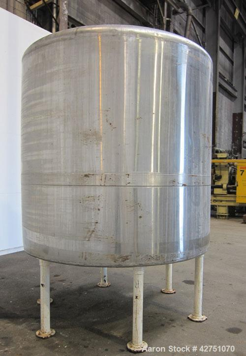 "Used- Tank, 2000 Gallon, 304 Stainless Steel, Vertical. 84"" Diameter x 84"" straight side. Dished top, coned bottom. Openings..."