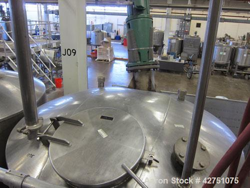 "Used- Tank, 1000 Gallon, Stainless Steel, Vertical. 66"" Diameter x 66"" straight side, dished top, coned bottom. Off center t..."