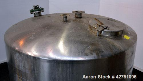 "Used- Tank, 2000 Gallon, 304 Stainless Steel Vertical. 84"" Diameter x 80"" straight side. Dished top, coned bottom. Off cente..."