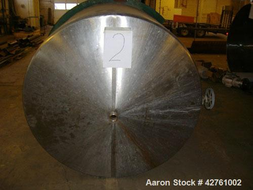 "Used-1200 Gallon Stainless Steel Tank, open top (with lid), cone bottom. 6'1"" wide x 7' long, 2"" outlet on bottom. Agitator ..."