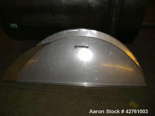 "Used-1100 Gallon Stainless Steel Tank, open top (with lid), cone bottom, 5'10"" wide x 6' long, (1) 2"" outlet."