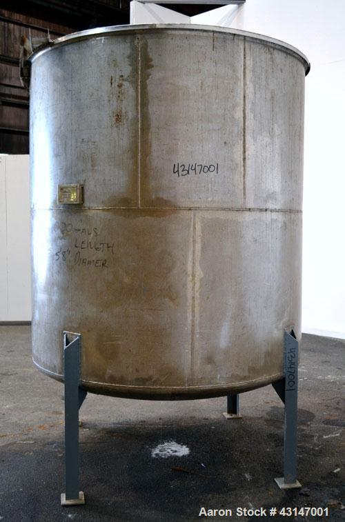 Used- Pfaudler Permutit Canada Tank, 1000 Imperial Gallons (1200 US Gallons), 304 Stainless Steel, Vertical. 68'' Diameter x...