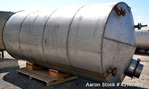 Used- Tank, 4000 Gallon, 304 Stainless Steel, Vertical. 84'' Diameter x 168'' straight side. Coned top, flat bottom. Opening...