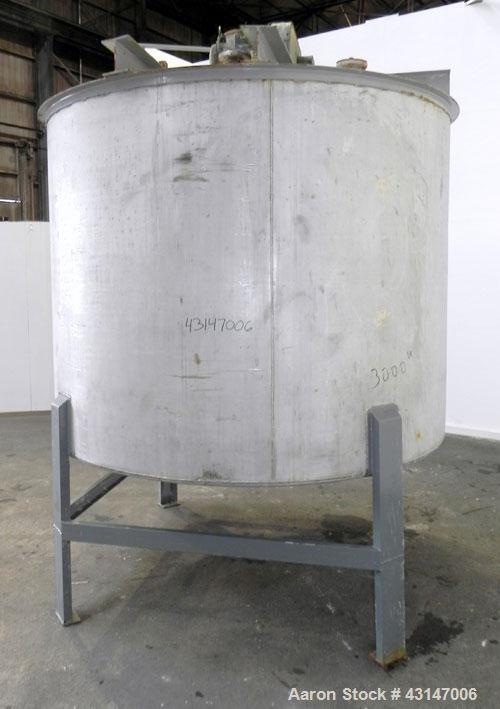 Used- Toronto Coppersmithing Tank, 2400 Gallon, 304 Stainless Steel, Vertical. 96'' Diameter x 72'' straight side. Flat weld...
