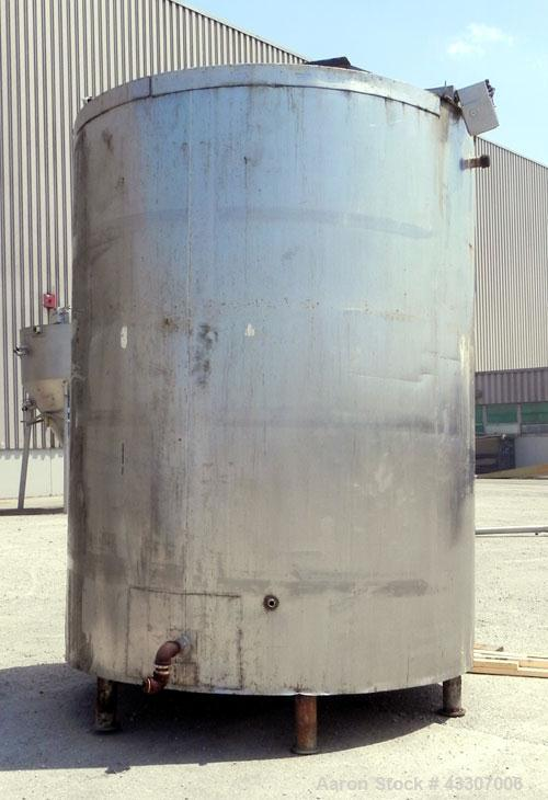 "Used- Kettle, 3000 Gallon, 304 Stainless Steel, Vertical. Approximate 90"" diameter x 116"" straight side, open top, no covers..."
