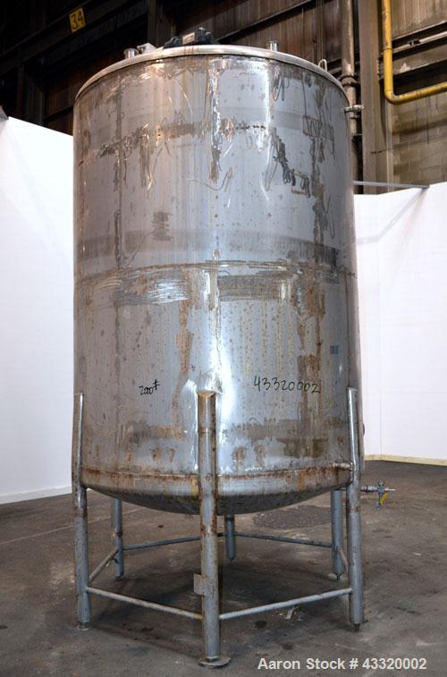 "Used- Tank, 1900 Gallon, 316 Stainless Steel, Vertical. Approximate 76"" diameter x 92"" straight side, dished top and bottom...."
