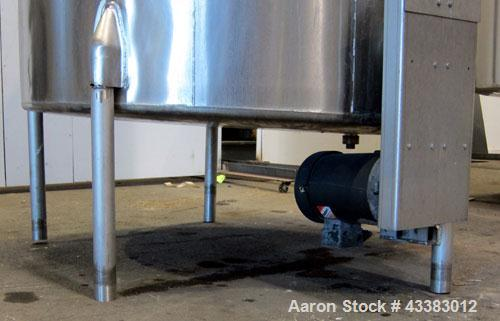 "Used- Tank, 1000 Gallon, 304 Stainless Steel, Vertical. Approximate 61"" diameter x 81"" straight side, flat top with a bolt o..."