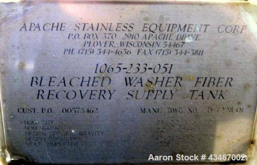"Unused- Apache Stainless Equipment Tank, 4400 Gallon, 304L Stainless Steel, Vertical. 96"" Diameter x 144"" straight side. Dis..."