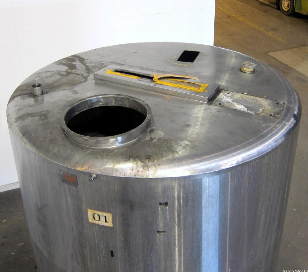"Used- San-I-Tank, 2000 Gallon, 304 Stainless Steel, Vertical. 84"" Diameter x 84"" straight side, flat welded top, coned botto..."