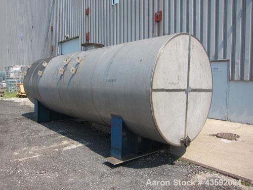 "Used- Tank, 4900 Gallon, 304 Stainless Steel, Horizontal. 78"" Diameter x 240"" straight side, flat ends. Openings: top (2) 2-..."