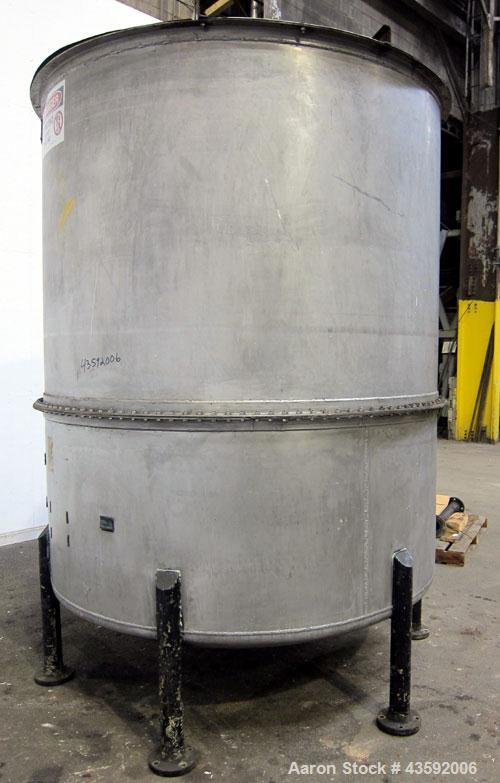 "Used- L. Lawrence Tank, 2000 Gallon, 316 Stainless Steel, Vertical. Approximately 78"" diameter x 90"" straight side (56"" bolt..."