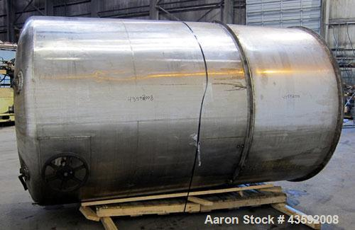 "Used- Stapco Tank, 3200 Gallon, 304 Stainless Steel, Vertical. Approximately 84"" diameter x 130"" straight side, open top wit..."