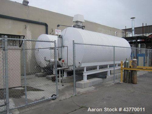 "Used-3,600 gallon SS Horizontal Tank; 80"" x 14'; Skid mounted; 16 x 20 manway; Horizontal agitator; Dual spray balls; not ho..."