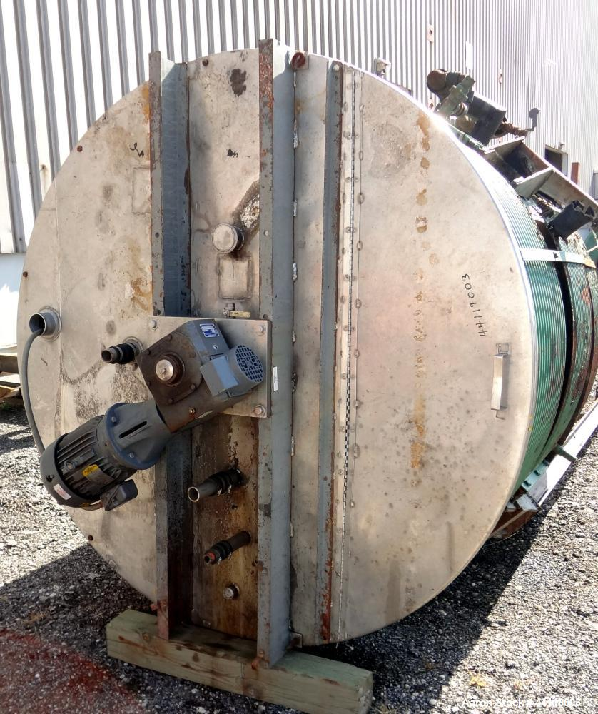 "Used- Tank / Kettle, 1800 Gallon, 304 Stainless Steel, Vertical. Approximate 78"" diameter x 84"" straight side, open top with..."