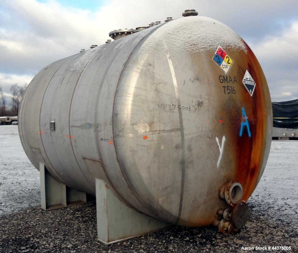 "Used- Chicago Boiler Company Pressure Tank, 8000 Gallon, 304L Stainless Steel, Horizontal. 114"" diameter x 144"" straight sid..."