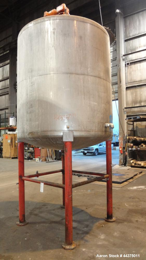 "Used- Tank, 1500 Gallon, 316 Stainless Steel, Vertical. Approximate 76"" diameter x 72"" straight side, dished top and bottom...."