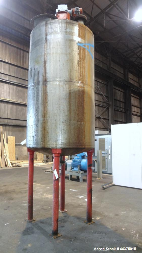 "Used- Imperial Steel Tank, 1200 Gallon, 316 Stainless Steel, Vertical. Approximate 60"" diameter x 96"" straight side, dished ..."